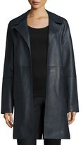 Neiman Marcus Belted Leather Trenchcoat, Midnight Black