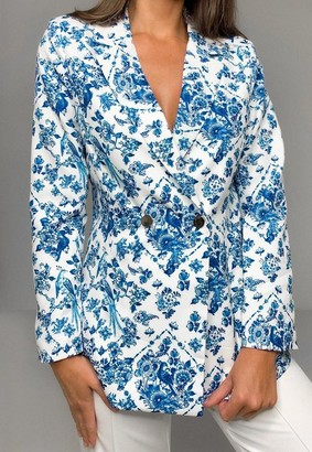Missguided Petite Blue Floral Skinny Fit Blazer