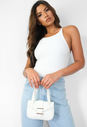 Missguided White Woven Top Handle Bag