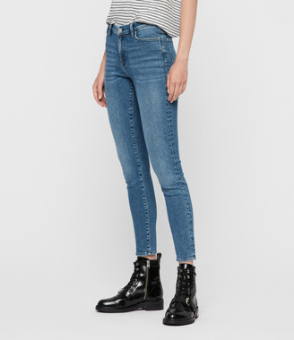 AllSaints Grace Ankle High-Rise Skinny Jeans, Indigo Blue