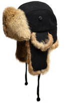 Crown Cap Wool Aviator Hat with Rabbit Fur, Black