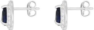 Love Gem SterlingSilver Blue and White Cubic ZirconiaPeardropStud Earrings