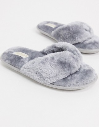 Truffle Collection faux fur thong slippers in gray