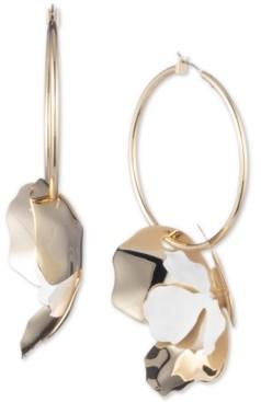 DKNY Two-Tone Flower Charm Hoop Earrings