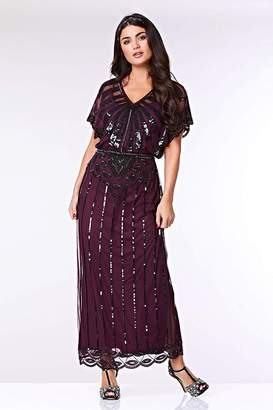 Gatsbylady London Angelina Vintage Inspired Maxi Dress in Plum
