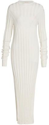 LOULOU STUDIO Linen & Silk Ribbed Knit Midi Dress