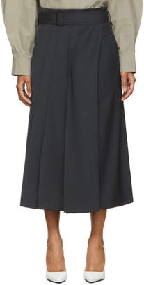 Low Classic Navy Wool Belt Skirt