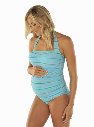 Prego Maternity Wear Stripe-Sweetheart Tank (Turquoise) Women's Swimsuits One Piece