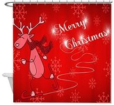 "bitt Mildew Resistant Fabric Merry Christmas Red Polyester Waterproof Shower Curtain 66"" X 72"""