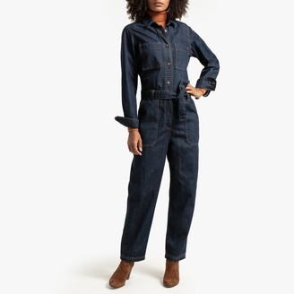 La Redoute Collections Denim Boilersuit with Tie-Waist, Length 26""