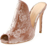 Gianvito Rossi Embroidered Satin 105mm Mule Sandal