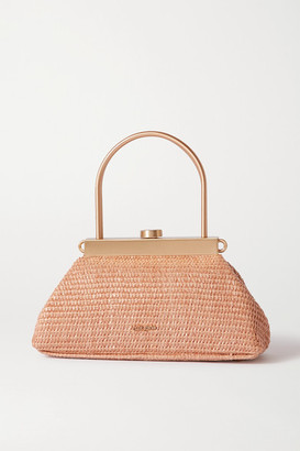 Cult Gaia Estelle Mini Leather-trimmed Woven Straw Tote - Neutral
