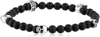 King Baby Studio Onyx Bead with 4 Skulls Bracelet
