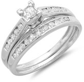 DazzlingRock Collection 0.55 Carat (ctw) 10k White Gold Princess & Round Diamond Ladies Engagement Ring Matching Wedding Band Set
