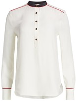 Rag & Bone Luca Silk Mandarin-Collar Blouse