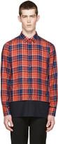Raf Simons Red & Navy Layered Check Shirt