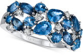 LeVian Le Vian® Precious Collection Sapphire (2-1/5 ct. t.w.) and Diamond (1/7 ct. t.w.) Ring in 14k White Gold, Only at Macy's
