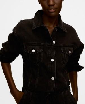 MANGO Women's Frayed Hem Denim Jacket