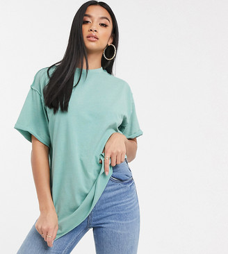 Asos DESIGN Petite super oversized t-shirt with exposed seams in washed sage