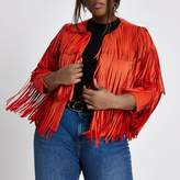 River Island Womens Plus bright red faux suede fringe jacket