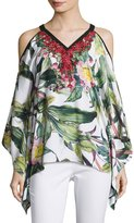 Alberto Makali Cold-Shoulder Embroidered Top, White Pattern