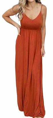 Artfish Women Summer Sleeveless V-Neck Maxi Dress Casual Adjustable Spaghetti Strap Pockets Dress(Navy XXL)