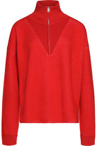 Sandro Ribbed-Knit Trimmed Stretch-Knit Sweater