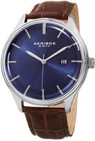 Akribos XXIV Men's Leather Strap Watch