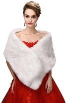 Oncefirst Winter Warm Faux Fur Imitation Bride Wedding Shawl Wraps Coat