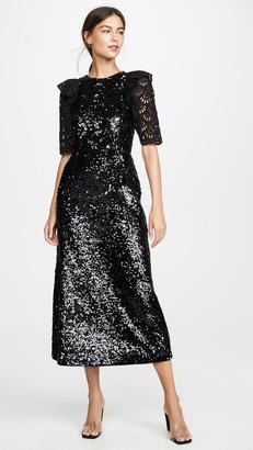 Sea Sequined Short Sleeve Dress