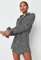 Missguided Black Dalmatian Print Frill Cuff Shirt Dress