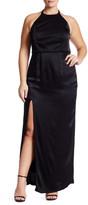 ABS by Allen Schwartz Solid Halter Gown (Plus Size)
