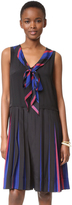 Marc Jacobs Pleated V Neck Dress with Tie