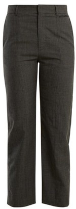 Vetements Straight-leg Prince Of Wales-checked Wool Trousers - Womens - Grey