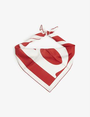 Burberry Double sided logo silk scarf