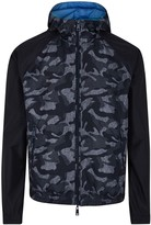 Armani Jeans Navy Camouflage-print Reversible Shell Jacket