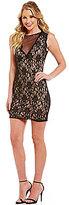 Jodi Kristopher Illusion V-Neckline Two-Tone Lace Sheath Dress