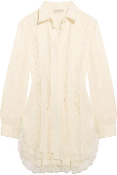 Etro Lace-paneled Silk-jacquard Shirt - White