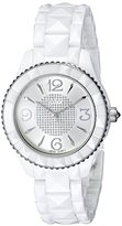 Akribos XXIV Women's AK533WT White Ceramic Watch with Pyramid-Link Bracelet