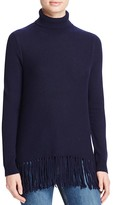 Aqua Cashmere Fringe Trim Turtleneck Cashmere Sweater