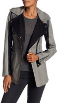 Dawn Levy Chase Contrast Leather Asymmetrical Coat