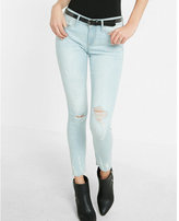 Express high waisted distressed raw hem jean ankle legging