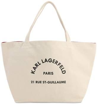Karl Lagerfeld Paris LOGO PRINT COTTON CANVAS TOTE BAG