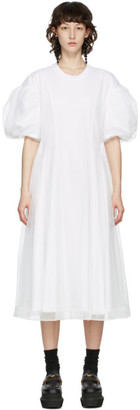Simone Rocha White Tulle Overlay Sculpted Dress