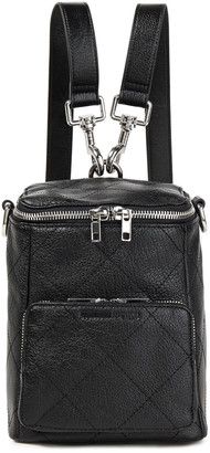 McQ Convertible Quilted Textured-leather Backpack