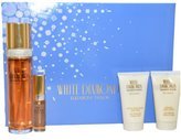 Elizabeth Taylor W-GS-2495 White Diamonds by for Women - 4 Pc Gift Set 3.3oz EDT Spray, 1.7oz Perfumed Body Lotion, 1.7oz Gentle Moisturizing Body Wash, 10ml EDT Mini Spray