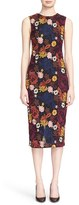 Alice + Olivia 'Nat' Floral Embroidered Sleeveless Midi Length Sheath Dress