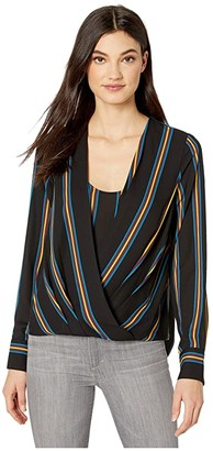 BCBGMAXAZRIA Wrap Long Sleeve Woven Top (Black/Medina Stripe) Women's Clothing