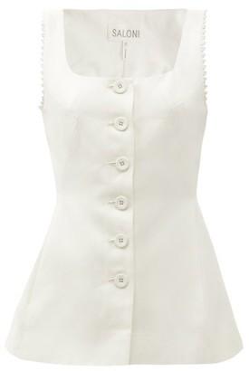 Saloni Bibba Sleeveless Cotton-blend Twill Top - Cream