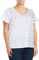 Lord & Taylor Plus Pineapple-Print Soft V-Neck Cotton Top